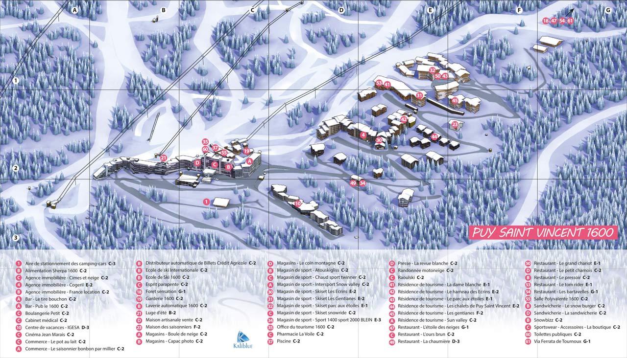Plan de la Station 1600 et 1800 du Puy Saint Vincent